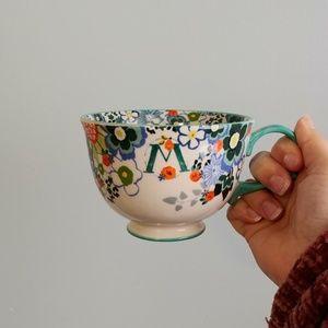 Anthropologie Tea Time Monogram Mug 'M'
